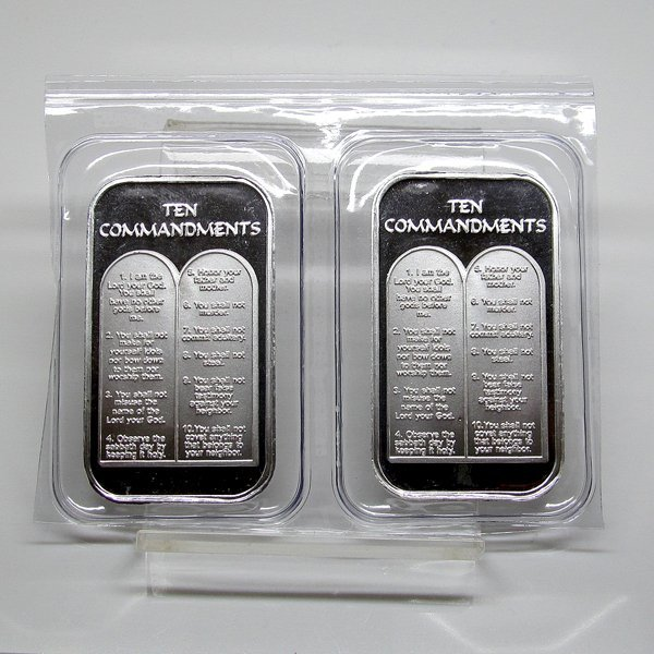 1 Oz Ten Commandments Silver 2-Bar Set