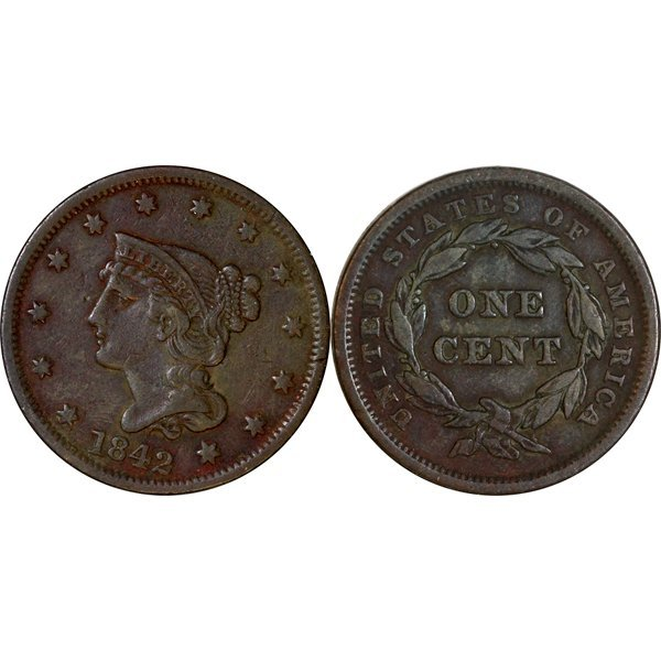 1842 Braided Hair Large Cent - Extra Fine