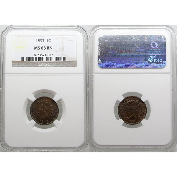 1893 Indian Head Cent MS63 BN NGC