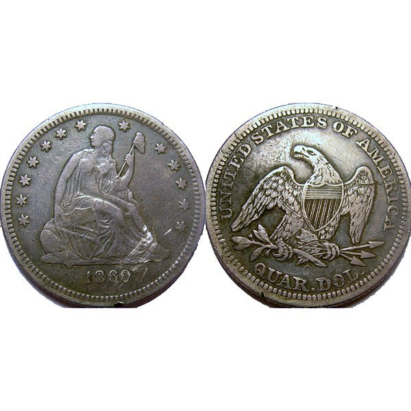 1860-O Seated Liberty Silver Quarter - Very Fine