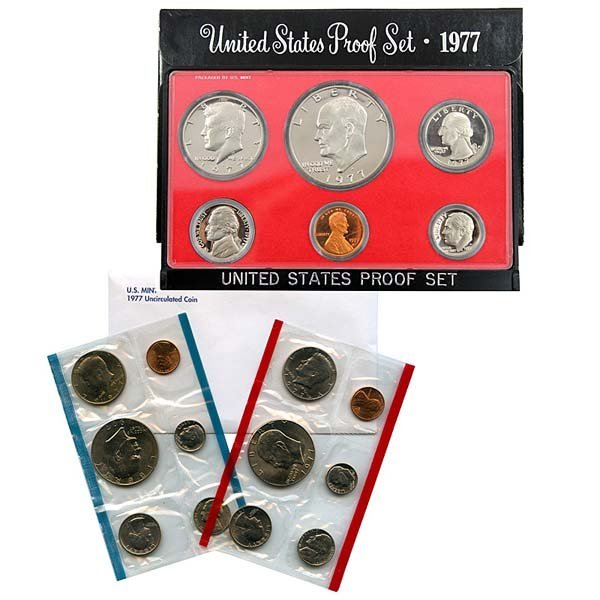 1977 US Proof and Mint Set Pair