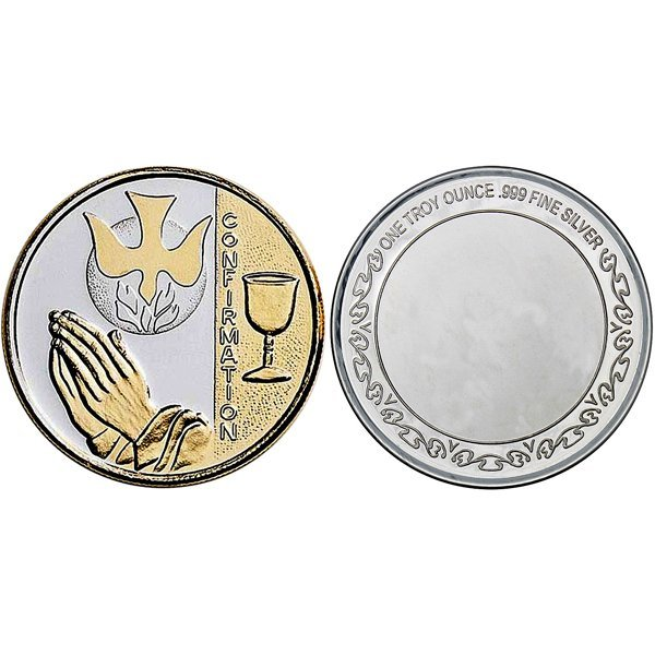 1 Oz Confirmation Design Silver Round - Gilded