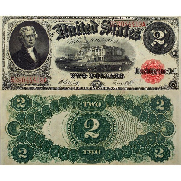 1917 $2 Legal Tender - Large Size Note - Extra Fine