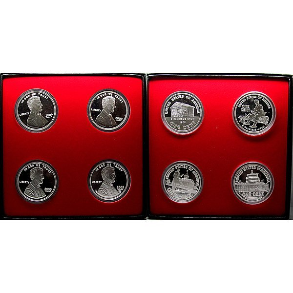 1 Oz  2009 Lincoln Silver Rounds 4-Coin Set w/Box