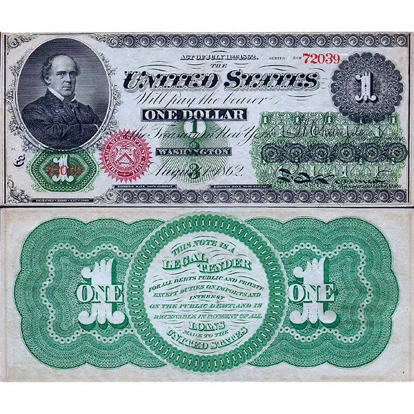 1862 $1 Legal Tender - Large Size Note - Extra Fine