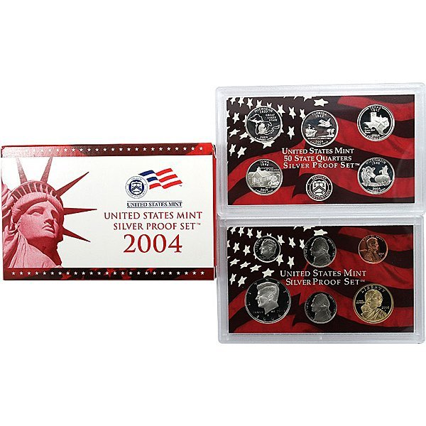 2004-S 11-Coin Proof Set 90% Silver in OGP