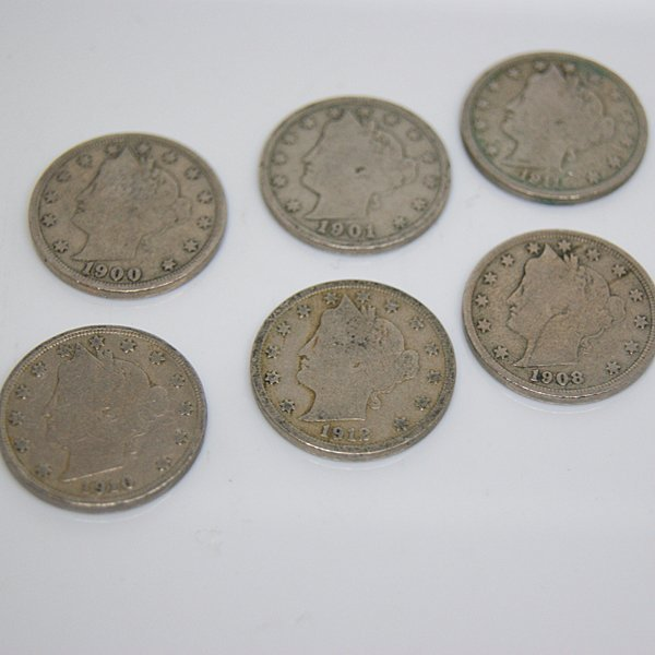 6-Coin Set Liberty Head V Nickel - Full Date