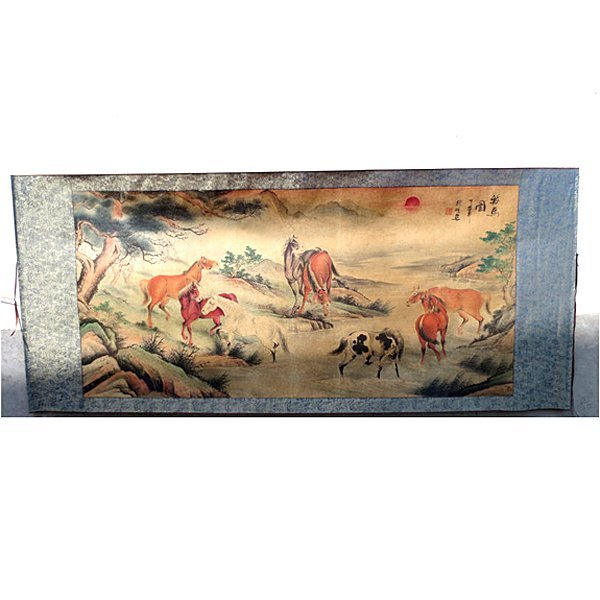 """Chinese Antique """"Wild Horse"""" Painting 66"""""""