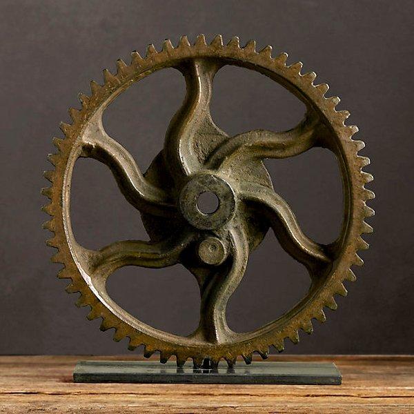 """Industrial Wheel Sculpture 15"""""""