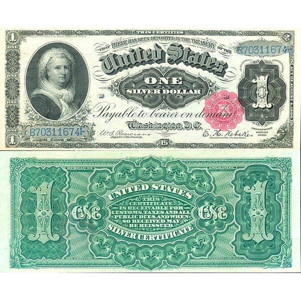 "1891 $1 ""Martha"" Silver Certificate - Choice"