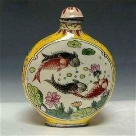 Old Chinese Enameled Bronze Snuff Bottle 3""