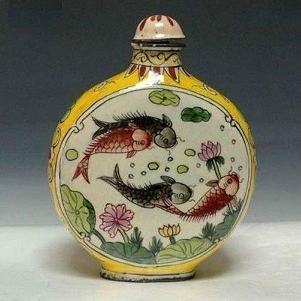 "Old Chinese Enameled Bronze Snuff Bottle 3"""