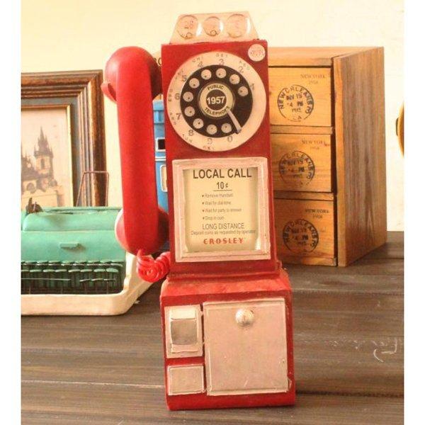 "Miniature Vintage Red Payphone 12"""