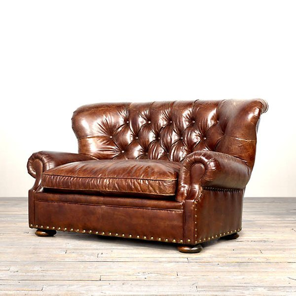 """Kennedy Leather Sofa - Old Saddle Brown 62"""""""