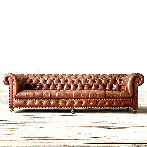 English Chesterfield Leather Sofa   Old Saddle Brown