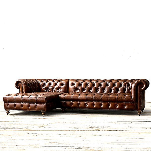 English Chesterfield Left Arm Facing Corner Chaise Sofa