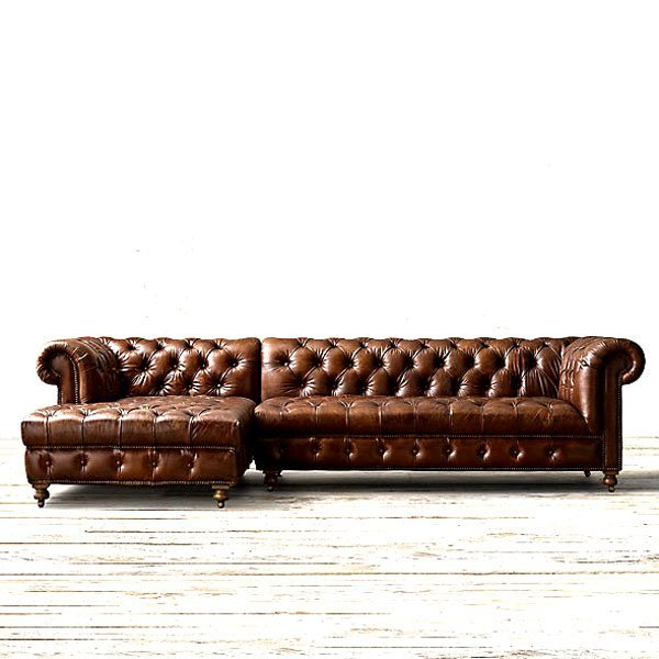 English Chesterfield Left Arm Facing Corner Chaise Sofa - 2