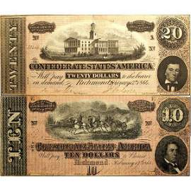 1864 $20 and $10 Confederate Notes - Very Fine