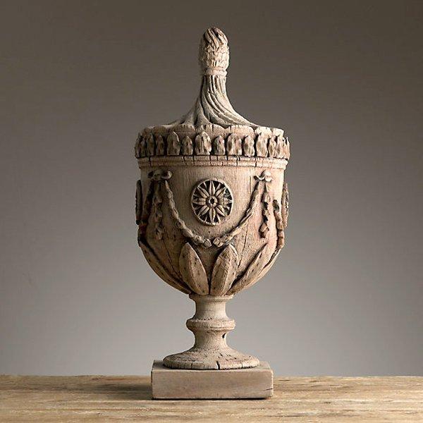 "Hand Carved Decorative Urn 30"""