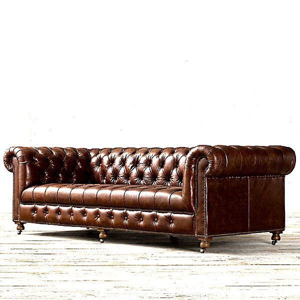 English Chesterfield Leather Sofa - Old Saddle Brown
