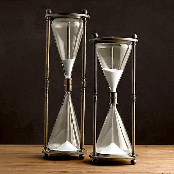 "European Large Brass Hourglass Pair 24"""