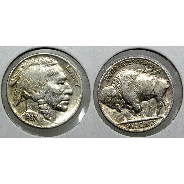1937 Buffalo Nickel - Extra Fine - Full Horn