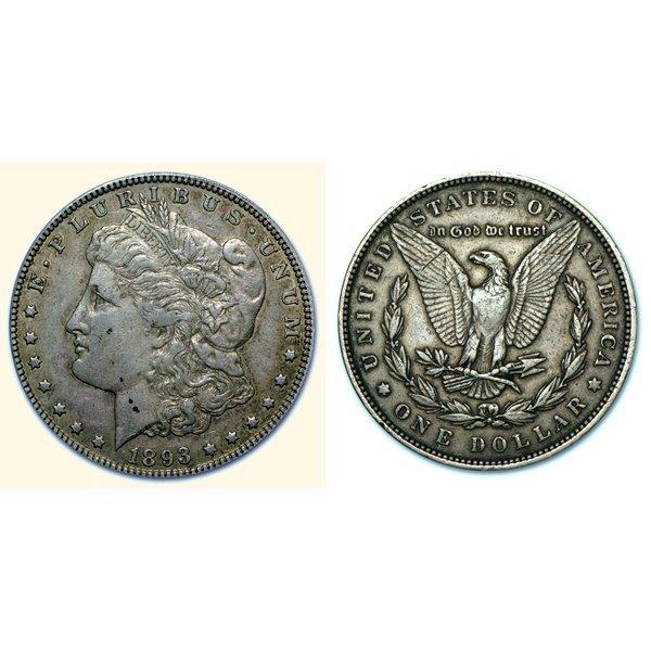 1893 Morgan Silver Dollar - Extra Fine