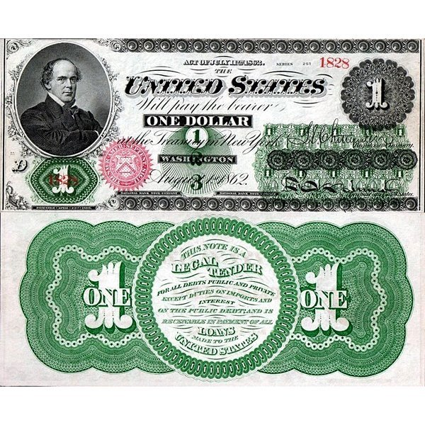 1862 $1 Legal Tender - Large Size Note - Choice