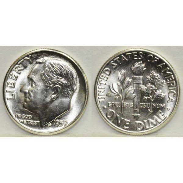 1959 P Roosevelt Dime (90% Silver) - BU