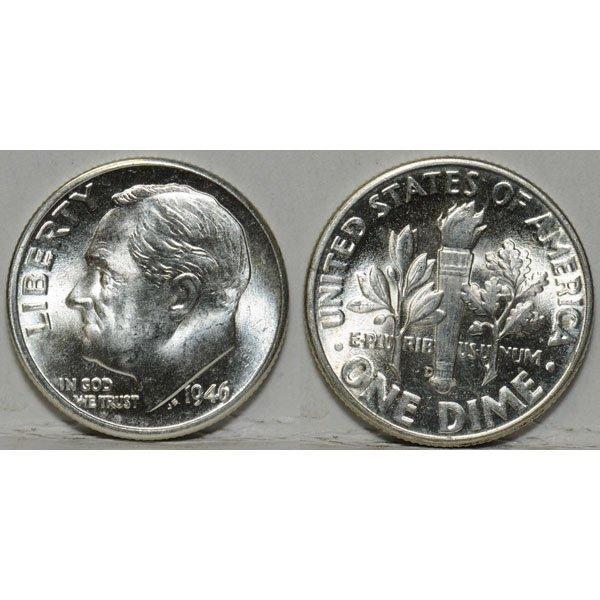 1946 D Roosevelt Dime (90% Silver) - BU