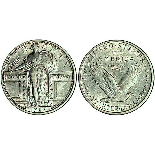 1917 D Standing Liberty Quarter Type 1 - AU