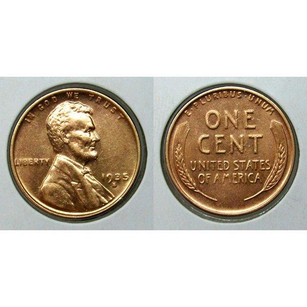 1935 S Lincoln Wheat Cent - BU