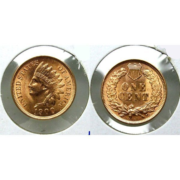 1900 Indian Head Cent - Red Gem BU - MS+++