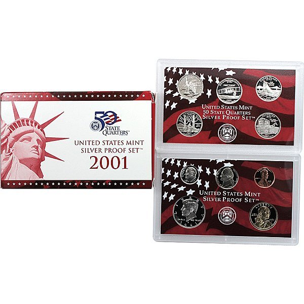 2001 S 10-Coin Proof (90% Silver) Set in OGP