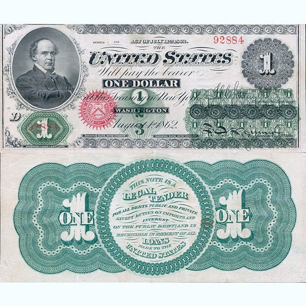 1862 $1 Legal Tender - Large Size Note - Almost