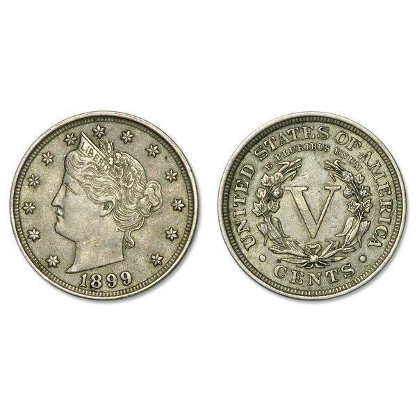 1899 Liberty Head V Nickel - Almost Uncirculated