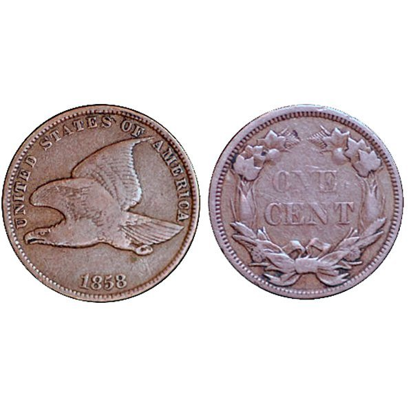 1858 Flying Eagle Cent Small Letters - Fine