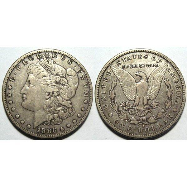1886 S Morgan Silver Dollar - Very Fine