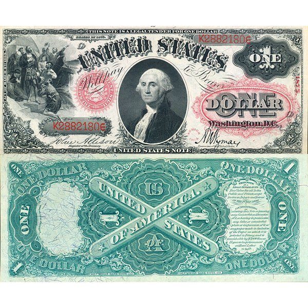 1875 $1 Legal Tender - Large Size Note - Choice