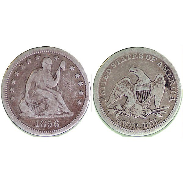1856 Seated Liberty Quarter - Very Good