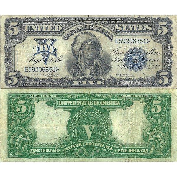 "1899 $5 ""Chief"" - Silver Certificate - Very Fine"