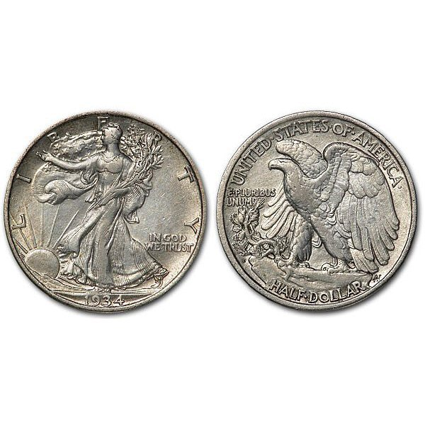 1934 D Walking Liberty Half Dollar - AU