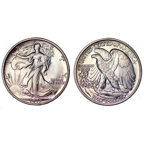 1917 Walking Liberty Half Dollar - BU