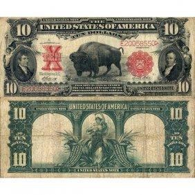 """1901 $10 Legal Tender - """"bison"""" - Fine"""