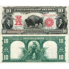 """1901 $10 Legal Tender - """"bison"""" - Almost Uncirculated"""