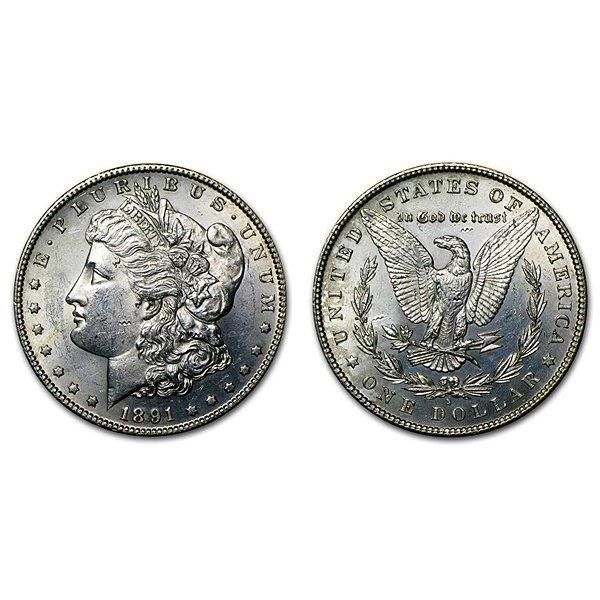 1891 S Morgan Silver Dollar - BU