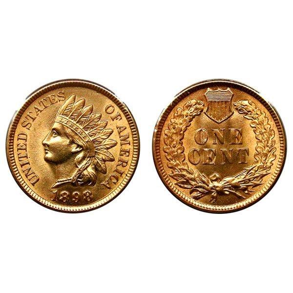 1898 Indian Head Cent - Choice BU - 4 Diamonds