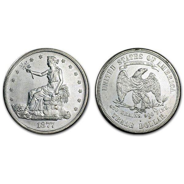 1877 S Trade Silver Dollar - AU
