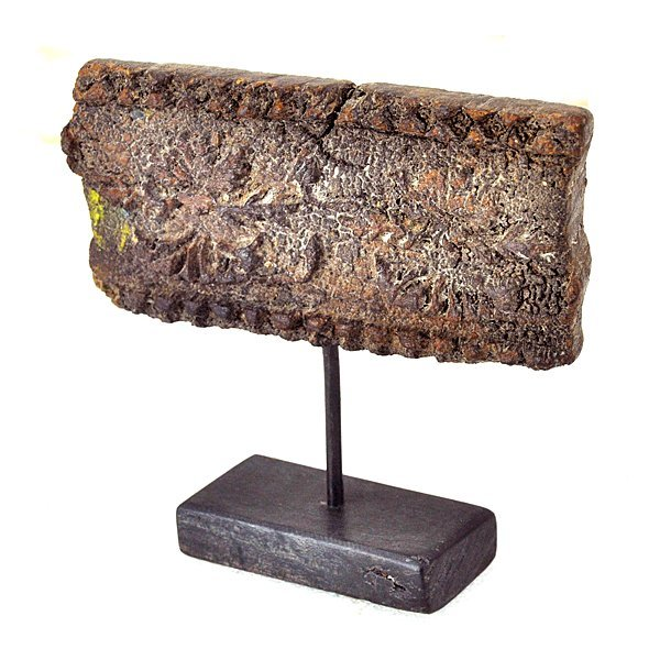"""Antique Wood Textile Printing Block on Stand 7"""""""