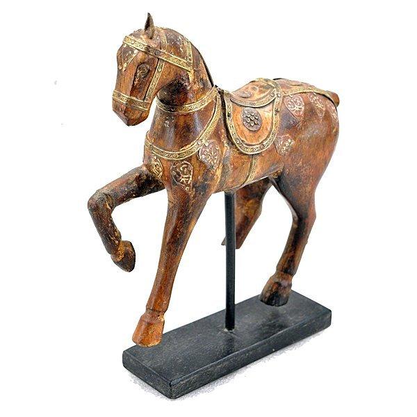 "Vintage Carved Wood Figure of Horse 10"""